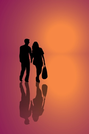 A silhouetted young couple walking on reflective surface towards a warm oranget light with pink background. photo