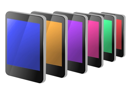 A line of many illustrated blank communication devices each with different colour display against a white background. Stock Photo - 11307118