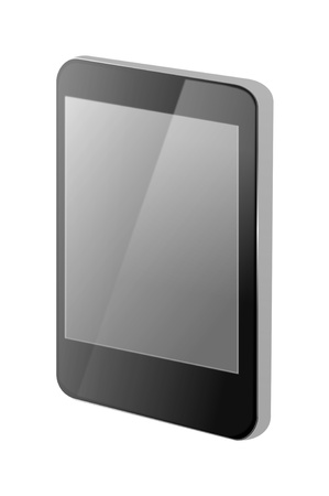 Illustration of a single blank communications device with grey screen and white background. Stock Illustration - 11307114