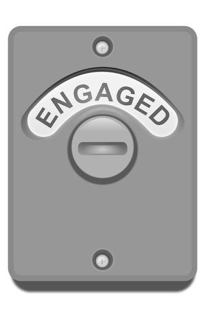 verlobt: Illustration eines WC-Türschloss mit der