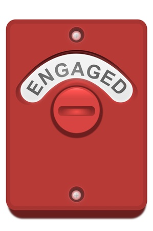 position d amour: Illustration d'une serrure de porte de toilette rouge avec le Banque d'images