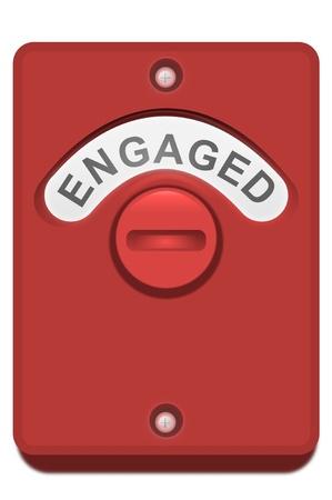 verlobt: Illustration eines roten WC Türschloss mit der Lizenzfreie Bilder