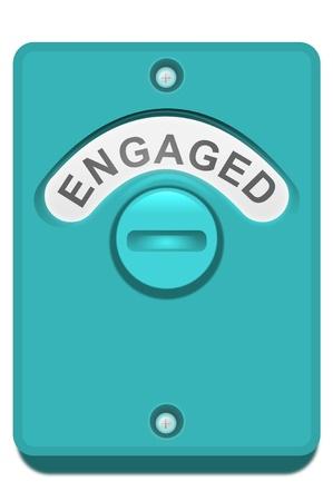 verlobt: Illustration eines blauen WC-Türschloss mit der Lizenzfreie Bilder