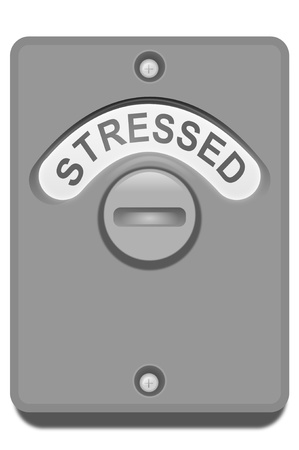 tense: Illustration of a toilet door turning lock with the