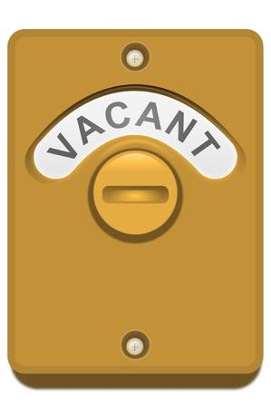 toilet door: Illustration of a bronze toilet door lock with the  Stock Photo