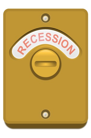 recession: Illustration of a bronze toilet door lock with the  Stock Photo