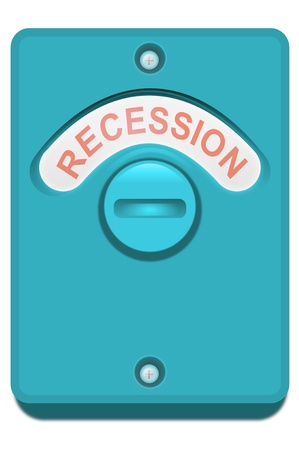 credit crunch: Illustration of a blue toilet door lock with the