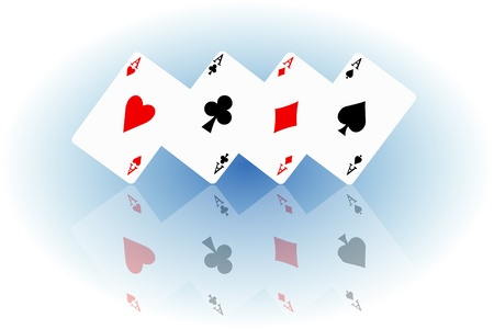 elipse: Illustrated four ace cards standing in formation on their corners and reflecting into foreground. White and blue elipse blur background.