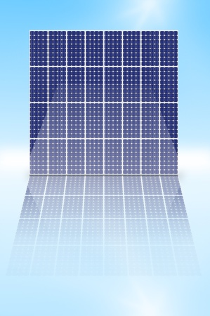 Illustration depicting a vertical array of photovoltaic solar panels reflecting into a shiny foreground. illustration