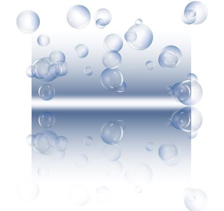 Die Illustration zeigt eine Auswahl von klaren Blasen schweben gegen einen blauen und weißen Hintergrund und Reflexion in den Vordergrund.