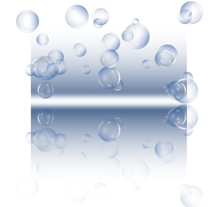 air bubbles: Illustration depicting a selection of clear bubbles floating against a blue and white background and reflecting into the foreground. Stock Photo