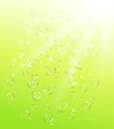 illustration depicting many air bubbles rising from the depths of a green body of water towards the surface. illustration