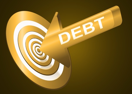 dark eyes: Illustrated debt concept depicting a red arrow with the word  Stock Photo