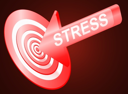 Illustrated stress concept depicting an arrow with the word  photo