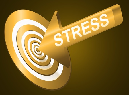 worried executive: Illustrated stress concept depicting an arrow with the word  Stock Photo