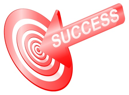 targetting: Illustrated success concept depicting an arrow with the word