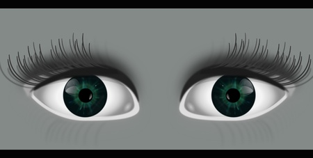 peering: Illustration depicting two eyes peering out from grey background with black strip top and bottom of image.