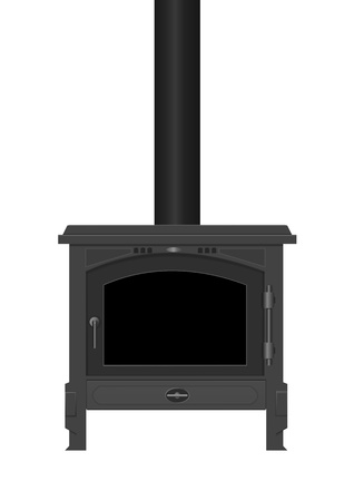 flue: Illustration of a typical interior iron wood burning stove with white background.