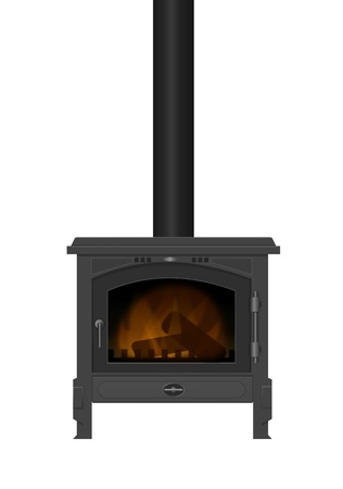 wood burning: Illustration of a typical interior iron wood burning stove with white background.
