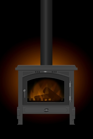 Illustration of a typical interior iron wood burning stove with dark glow background. illustration