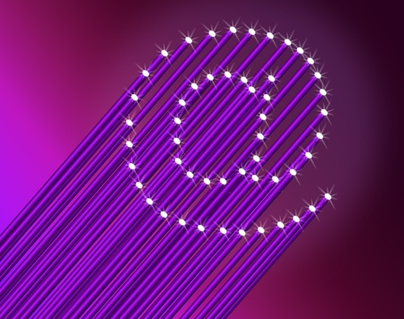 Illustration depicting many illuminated violet fiber optic light strands arranged to form the ampersat symbol. Dark pink background. illustration
