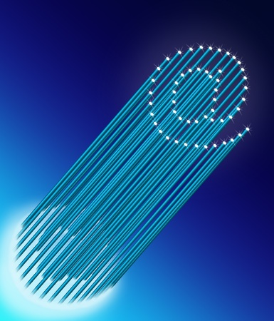 Illustration depicting many illuminated blue fiber optic light strands arranged to form the ampersat symbol. Blue gradient background. illustration