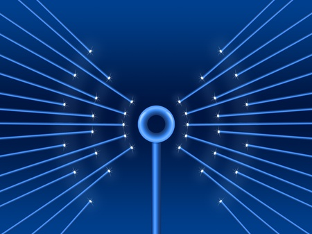 antenna: Illustration depicting illuminated fiber optic light strands forming a wifi symbol.