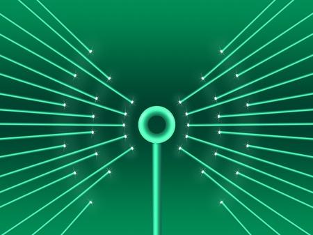 wireless hot spot: Illustration depicting illuminated fiber optic light strands forming a wifi symbol.