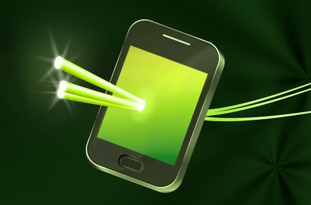 Illustration depicting a telecommunications device with illuminated fiber optic strands appearing to pass through the illuminated screen with abstract background. illustration