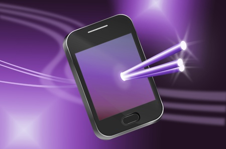 Illustration depicting a telecommunications device with illuminated fiber optic strands appearing to pass through the illuminated screen with abstract background. Stock Illustration - 11534229