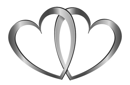 Illustration depicting two gold silver hearts arranged over white. Stock Illustration - 11882056