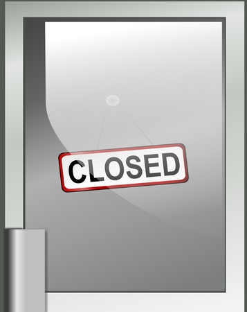 illustration depicting a closed sign hanging from a glass door. illustration