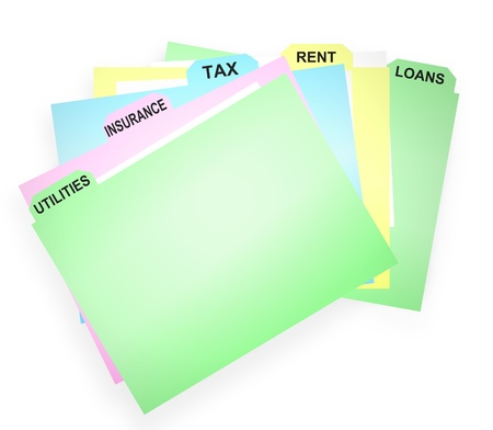 Illustration depicting several card wallet folders containing financial paperwork. White background. illustration