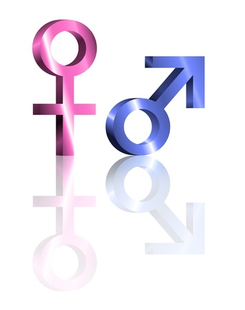 Illustration depicting metallic blue and pink male and female symbols arranged over white and reflecting into the foreground. Stock Illustration - 11882070