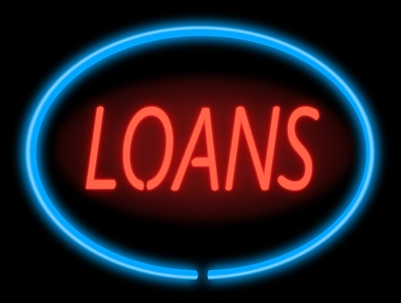 quick money: Illustration depicting an illuminated blue and red loans