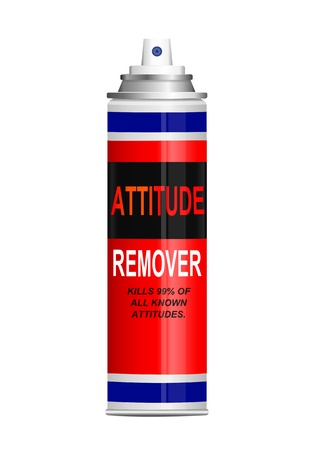Illustration depicting a single aerosol spray can with the words  illustration