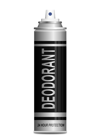 Illustration depicting a single deodorant spray can arranged over white. illustration