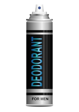 perspiration: Illustration depicting a single deodorant spray can arranged over white.