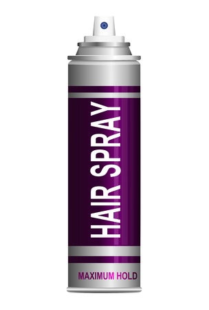 Illustration depicting a single hair spray aerosol can arranged over white. illustration