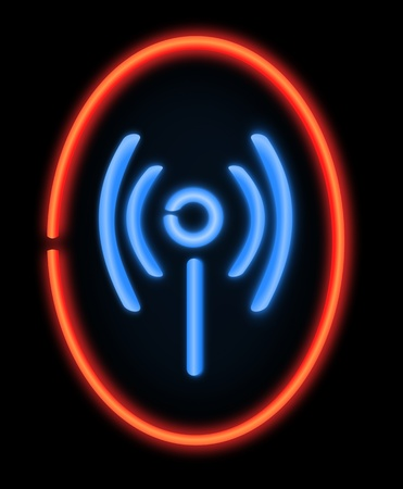 Illustration depicting a illuminated neon sign in the shape of a wireless symbol. Black background. illustration