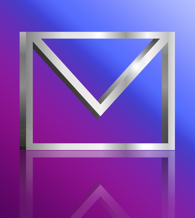 Illustration depicting a single metallic email symbol arranged over blue and pink light gradient and reflecting into foreground. illustration