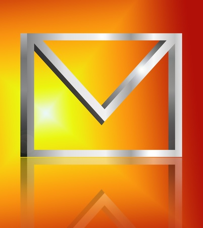 Illustration depicting a single metallic email symbol arranged over golden light effect and reflecting into foreground. illustration