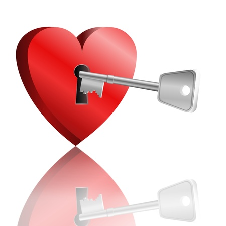 Illustration depicting a love heart with keyhole and a single key reflecting into foreground. White background. Stock Illustration - 11987329