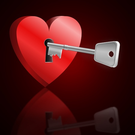 Illustration depicting a love heart with keyhole and a single key reflecting into foreground. Dark red background. Stock Illustration - 11987332
