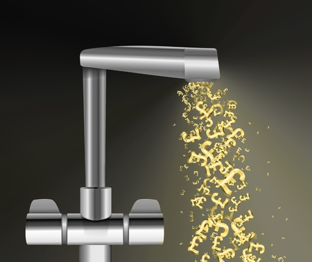 Illustration depicting a chrome water tap with metallic gold UK Pound Signs flowing from the spout against a dark  background. illustration