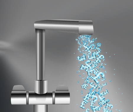 Illustration depicting a chrome water tap with metallic blue UK Pound Signs flowing from the spout against a grey background. illustration