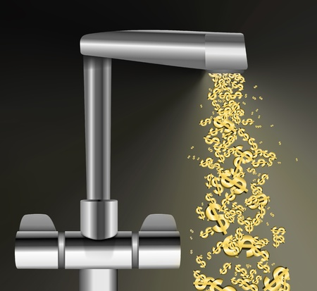 spout: Illustration depicting a chrome water tap with metallic gold US Dollar Signs flowing from the spout against a dark background. Stock Photo