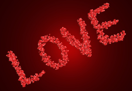 Illustration depicting many red coloured love hearts arranged to spell the word  illustration