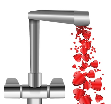 spout: Illustration depicting a chrome water tap with metallic red love hearts flowing from the spout against a white  background.