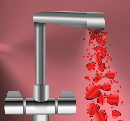 Illustration depicting a chrome water tap with metallic red love hearts flowing from the spout against a dark pink background. illustration